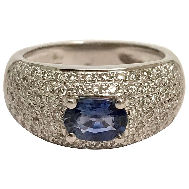 Sapphire Diamonds White Gold Cocktail Ring 2
