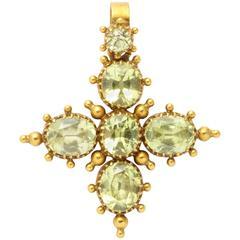 Late Georgian Chrysolite Gold Maltese Cross