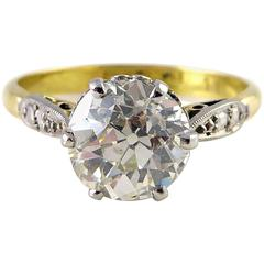 Antique Engagement Ring, Old European Cut Diamond Solitaire, 1.70 Carat