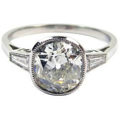 Antique Diamonds in Art Deco Engagement Ring Style Setting, 1.60 Carat Solitaire