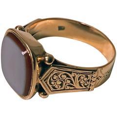 Antique Sardonyx Gold Signet Ring, Austria, circa 1890