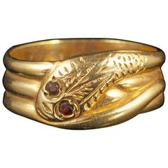 Antique Snake Ring Garnet Eyes
