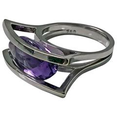Amethyst White Gold Modernist Abstract Ring, 20th Century