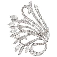 Retro 15.51 Carat Diamond Platinum Floral Motif Lapel Brooch