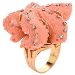 Coral Diamond Yellow Gold Star Fish Cocktail Ring
