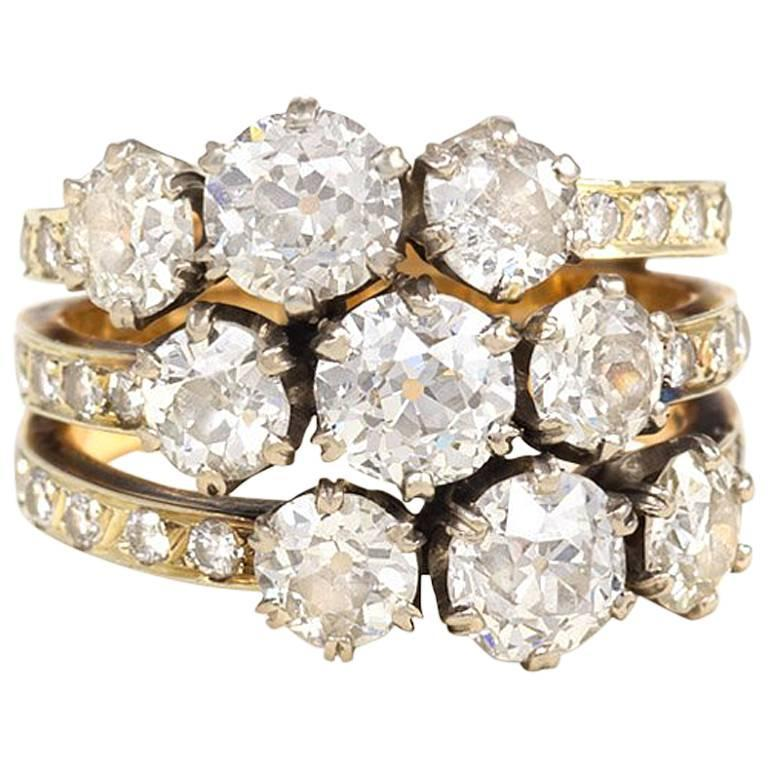 Edwardian Triple Band Diamond Gold Platinum Harem Ring 1