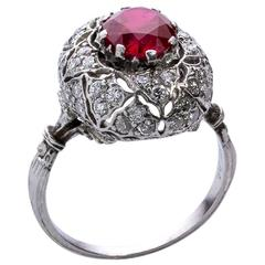 Mario Buccellati Red Ruby and Diamonds Platinum Cluster Ring