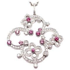 Louis Vuitton Craquantes Pink Sapphire Diamond White Gold Pendant Necklace