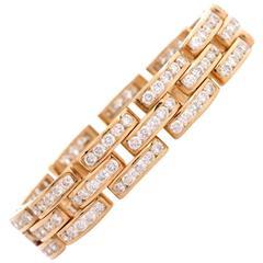 Diamond Tank Track Gold Link Bracelet