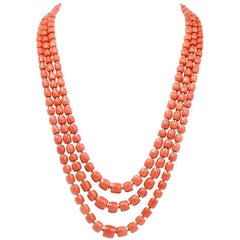 Triple Strand Red Natural Coral Gold Beads Necklace