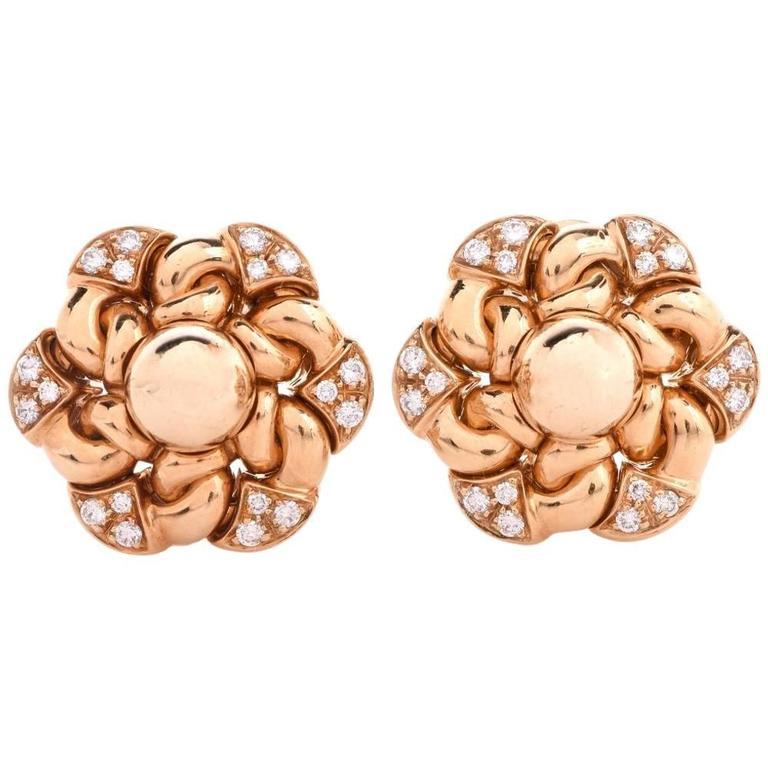 Bulgari Floral Diamond Yellow Gold Clip-Back Earrings