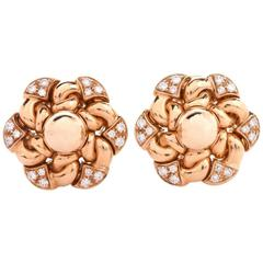 Bulgari Floral Diamond Yellow Gold Clip-Back Earrings