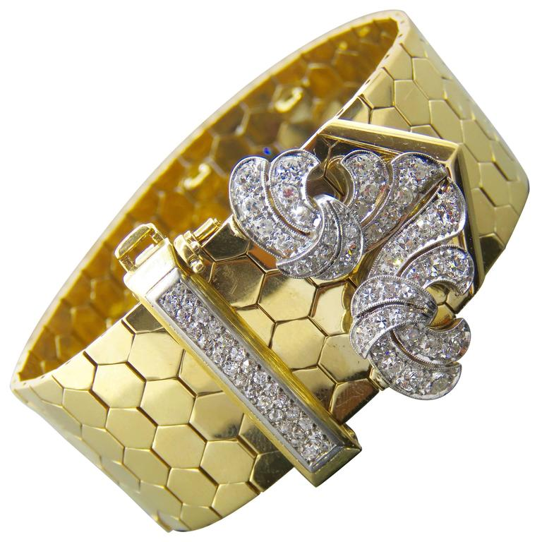 Retro Van Cleef & Arpels Diamond Gold  Buckle Bracelet 1
