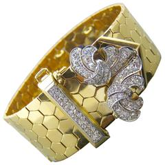 Retro Van Cleef & Arpels Diamond Gold  Buckle Bracelet