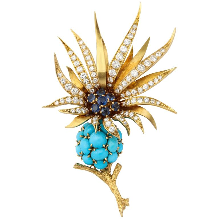 Pierre Sterle Turquoise Sapphire Diamond Gold Brooch