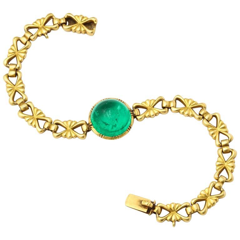 Carlo Giuliano Cabochon Emerald Gold Bracelet For