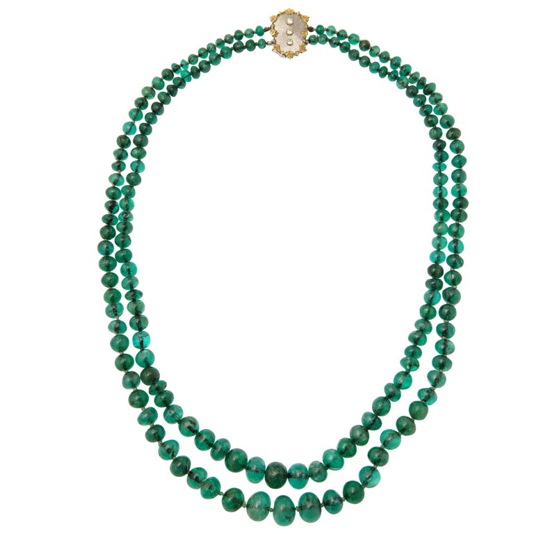 Buccellati Two Strand Emerald Bead Necklace For Sale