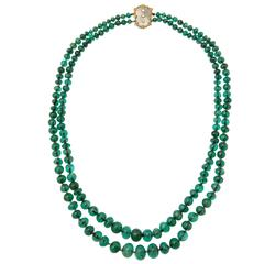 Buccellati Two Strand Emerald Bead Necklace