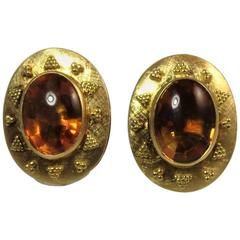Oval Cabochon Citrine Yellow Gold Ear Clips