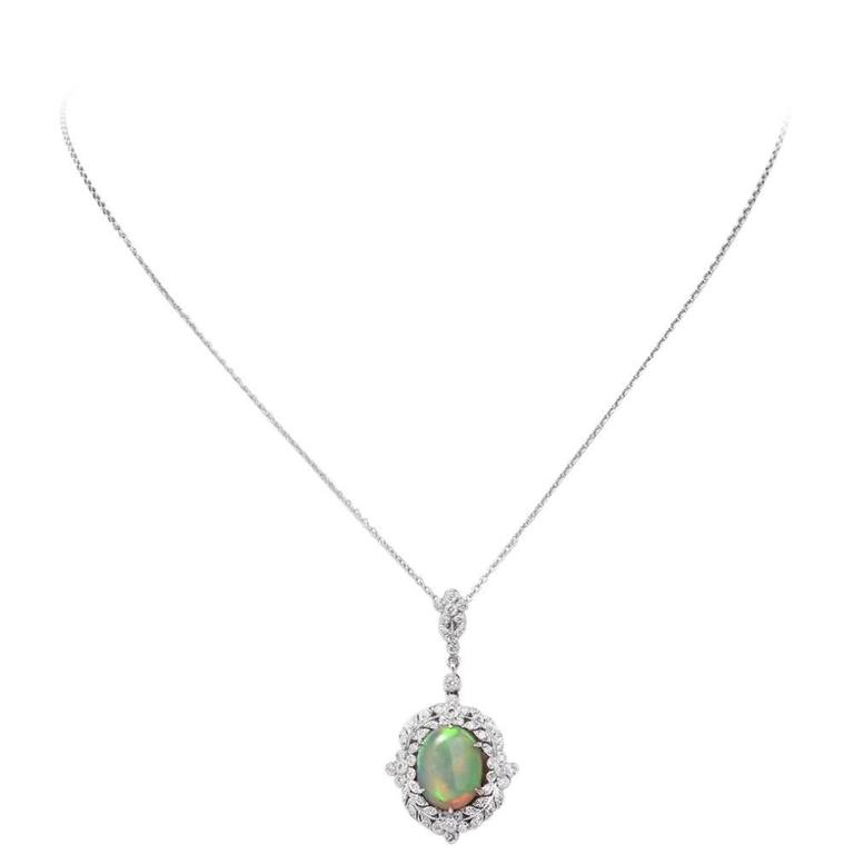 Opal Diamond Gold Pendant Necklace For Sale