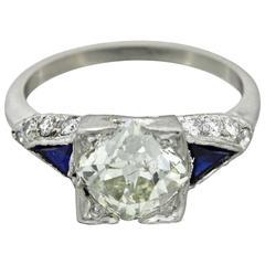 1920s Art Deco Gold Platinum 2.11 Carat GIA French Cut Diamond Ring