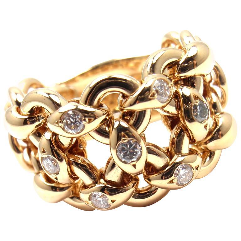 Hermes Diamond Yellow Gold Band Ring