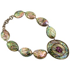Tony Duquette Abalone Amethyst Statement Silver and Gold Necklace