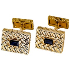 French Sapphire and Gold Basketweave Design Cufflinks