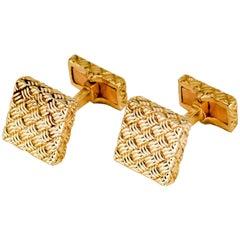 Boucheron Gold Square Basketweave Cufflinks