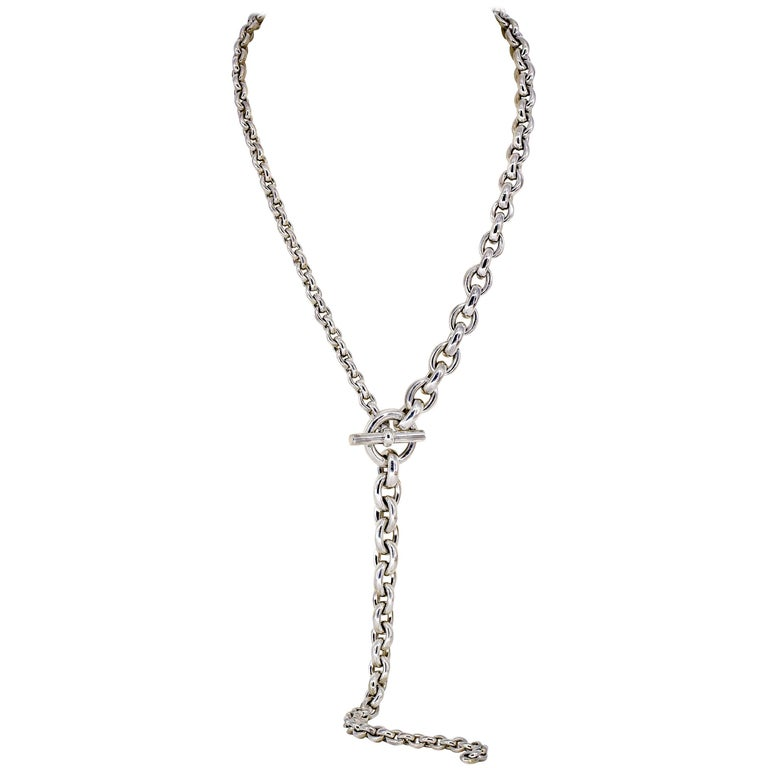 7376ced78aaea1 Hermes Crescendo Sterling Silver Toggle Link Necklace For Sale at ...