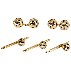 Van Cleef & Arpels Sapphire and Gold Ball Cufflink and Stud Set