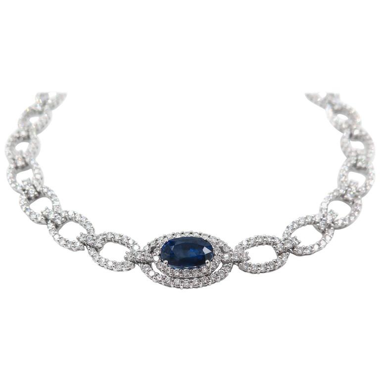 Oval Sapphire Diamond White Gold Necklace