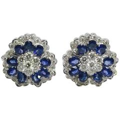 Classic Ceylon Sapphires Diamonds Gold Camellia Earrings
