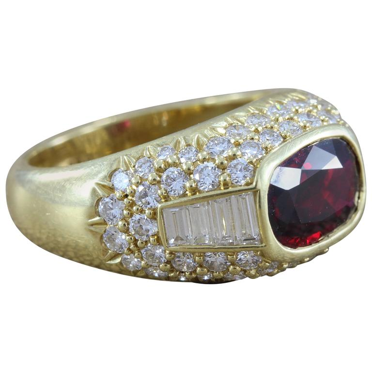 Ruby Diamond Gold Cocktail Ring