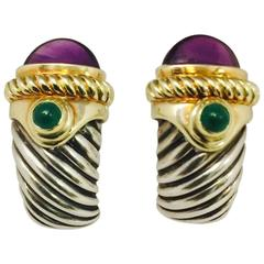 David Yurman Amethyst Green Tourmaline Sterling Silver Yellow Gold Earrings