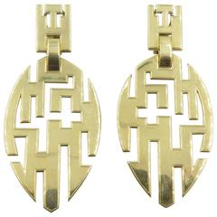 Cartier Gold Geometric Drop Earrings