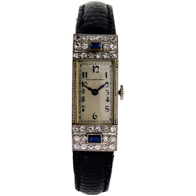 Black Starr & Frost Ladies White Gold Art Deco Manual Watch
