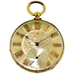M.J. Tobias 18 Karat Yellow Gold Keywind Pocket Watch Engraved Case and Dial