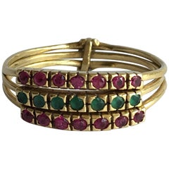 Ruby Emerald Harem Style 18ct Gold Delicate Trio Trinity Vintage Three Band Ring