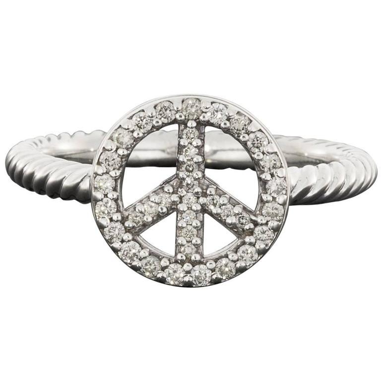 David Yurman Diamond Sterling Silver Peace Sign Ring At 1stdibs
