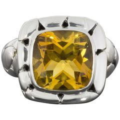 John Hardy Citrine Silver Batu Kali Square Pebble Ring