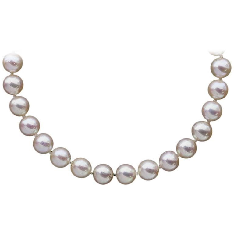 Akoya Cultured Saltwater Pearl Strand Necklace with Yellow Gold Clasp