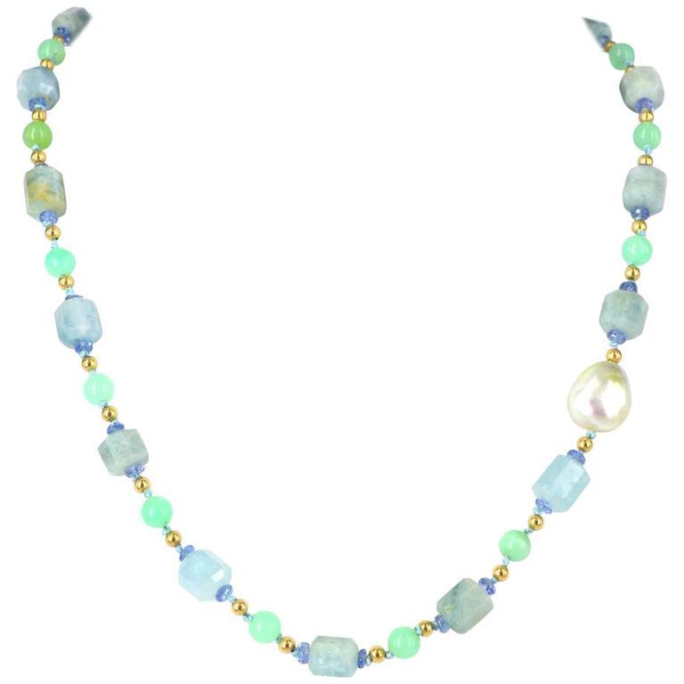 Aquamarine Australian Chrysophase Tanzanite South Sea Pearl Gold Necklace