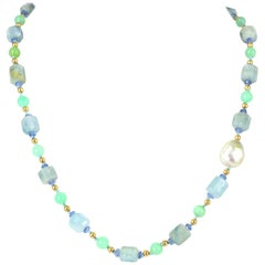 Aquamarine Australian Chrysophase Tanzanite South Sea Pearl Gold Necklace