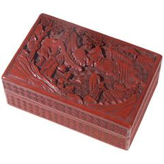 Antique Chinese Cinnabar Lacquer Rectangular Box and Cover