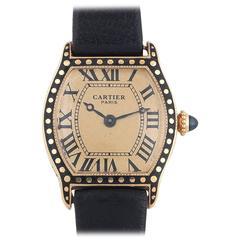 Cartier Ladies Yellow Gold Enamel Tortue Wristwatch