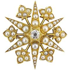 Antique Diamond Pendant Brooch, Pearls, 15 Carat, English Victorian