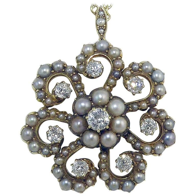 Antique Old Cut Diamond and Pearl Pendant, Victorian Circa 1890s For Sale