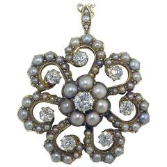 Antique Old Cut Diamond and Pearl Pendant, Victorian Circa 1890s