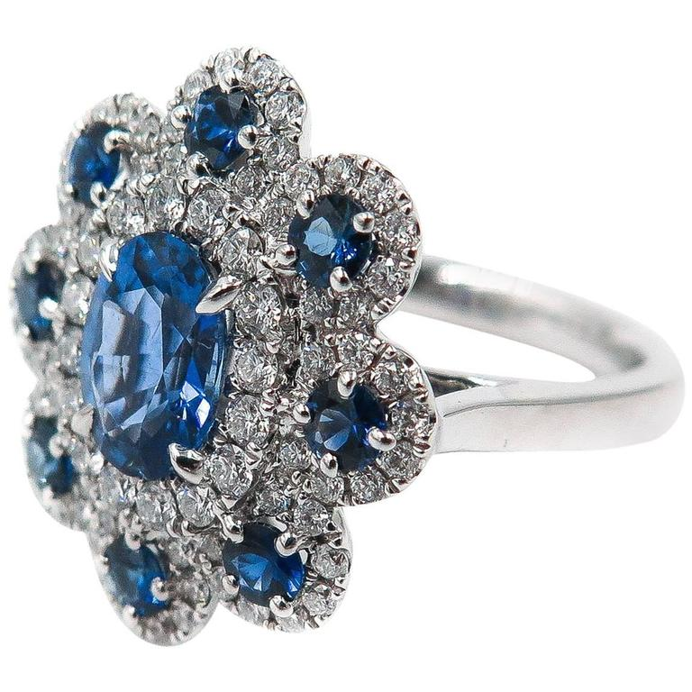 Sapphire Diamond Flower white gold Ring For Sale